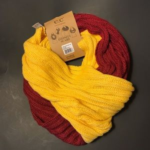 NEW C.C. knit infinity scarf maroon and gold NWT